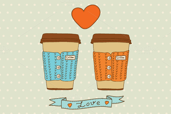 Vector Cute Coffee Cups Set
