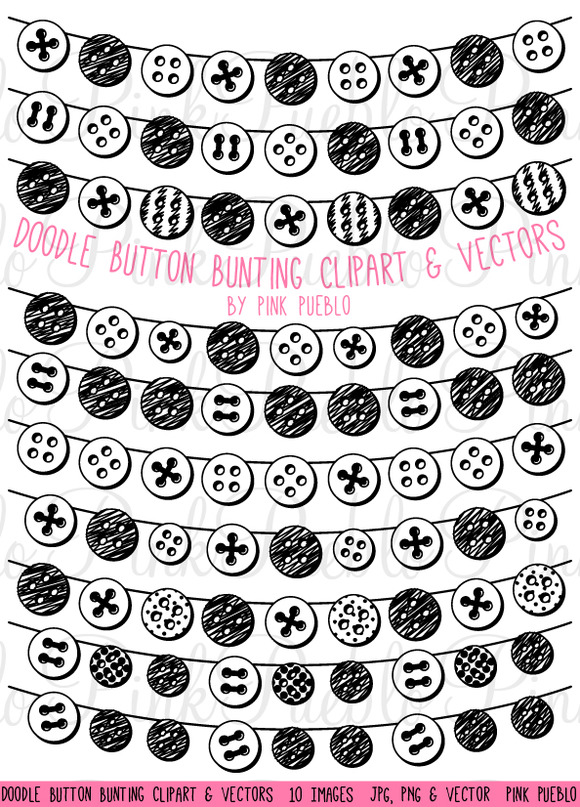 Doodle Button Bunting Clipart Vector