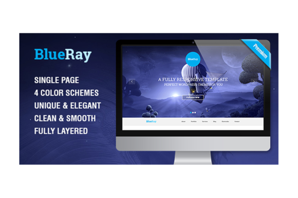 BlueRay Single Page PSD Theme