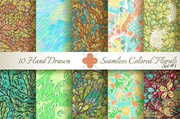 10 Colored Seamless Florals Set #1