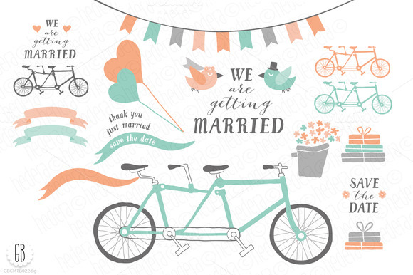 Tandem Bicycle Wedding Mint Coral
