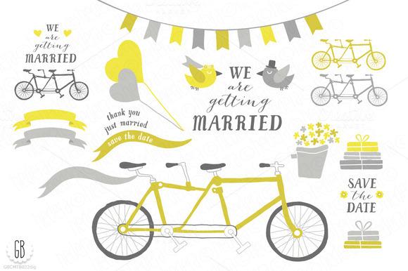Tandem Bicycle Wedding Gray Yellow