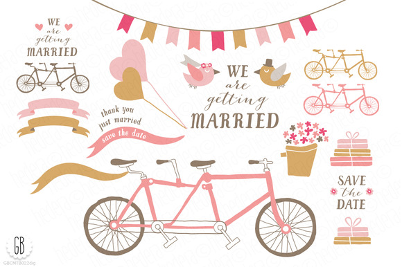 Tandem Bicycle Wedding Pink Gold