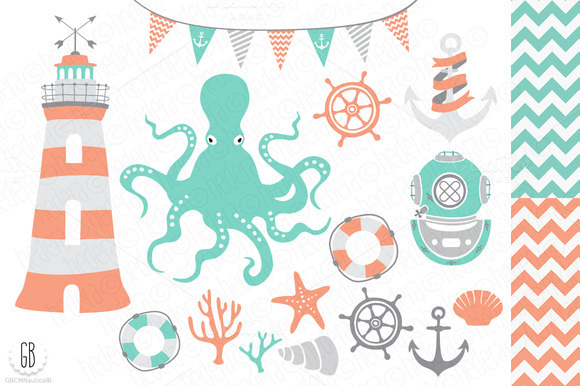 Nautical Vector Clip Art Octopus