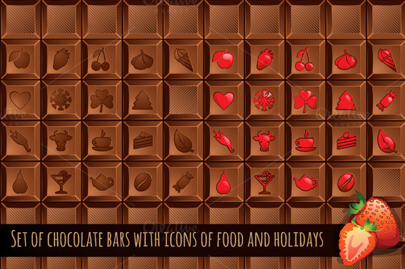 Set Of Chocolate Bars With Icons
