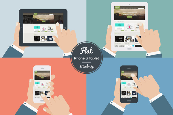 Flat Design Mock-Ups Phone Tablet
