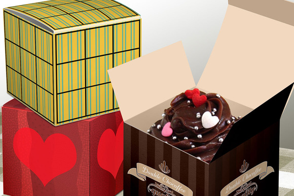 Cupcake Box Mock Up Open And Closed
