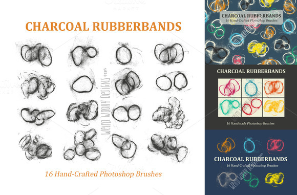 Charcoal Rubberbands-PS Brushes