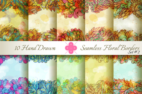 10 Floral Seamless Borders Set#2