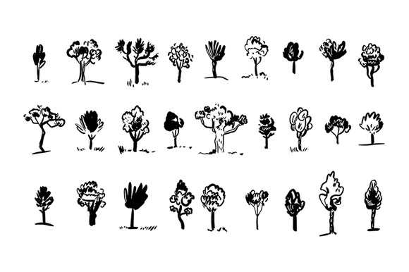Tree Silhouettes Vector Clipart