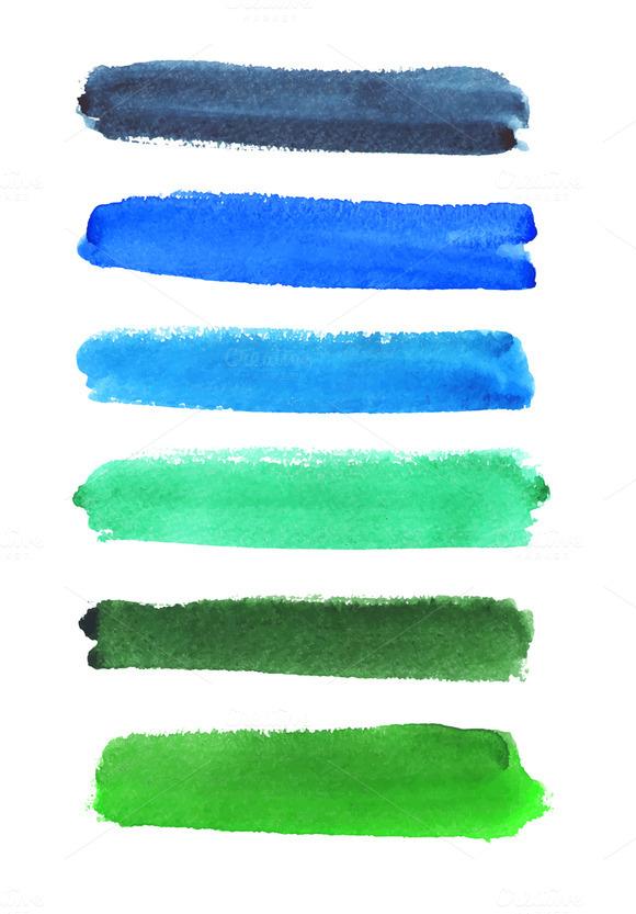 Vector Watercolor Strokes Set