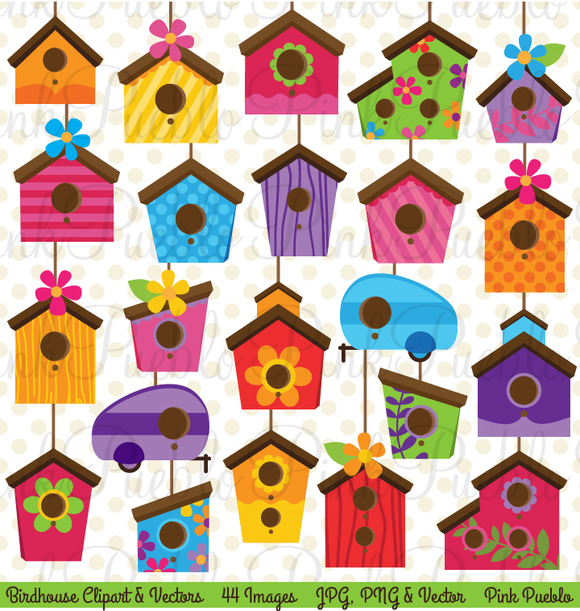 Cute Birdhouse Clipart And Vectors