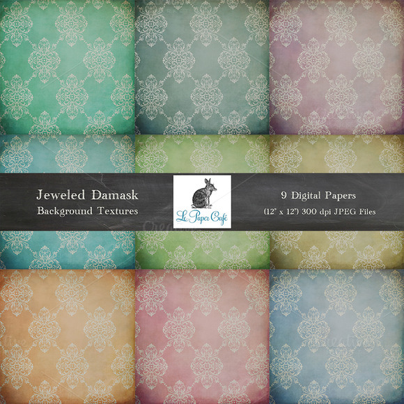 Jeweled Damask Background Textures