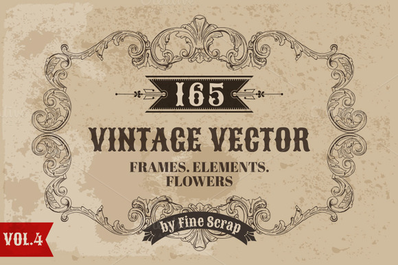 165 Vintage Vector Elements Vol4
