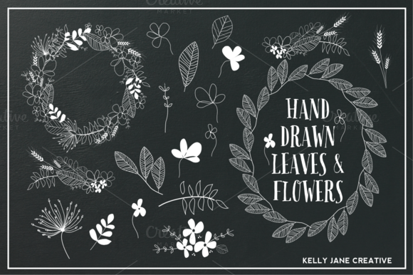 Hand Drawn Flowers Foliage B W