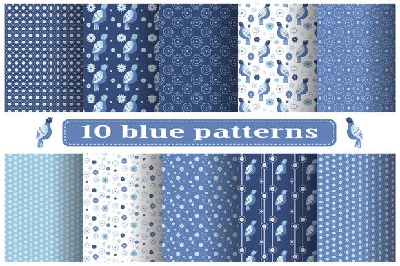 Set Of Blue Patterns