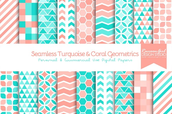 Seamless Turquoise Coral Geometric