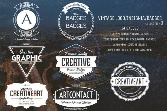Vintage Logo Insignia Badges 3