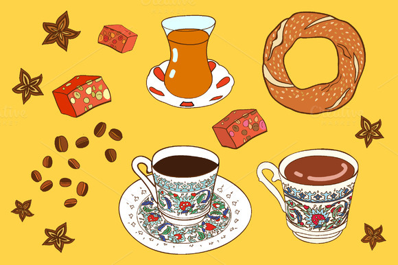 Vector Turkish Coffee And Tea