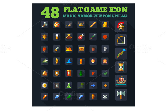 Game Icon Set In Flat Style