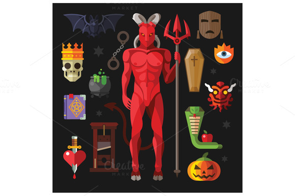 Vector Flat Illustrations Hell Devil