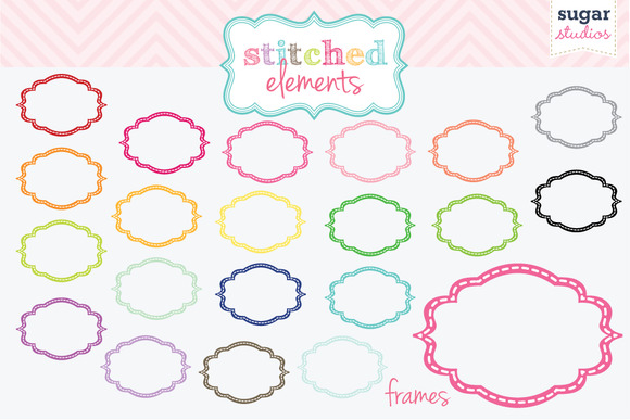 Stitched Frames Clipart Set 1