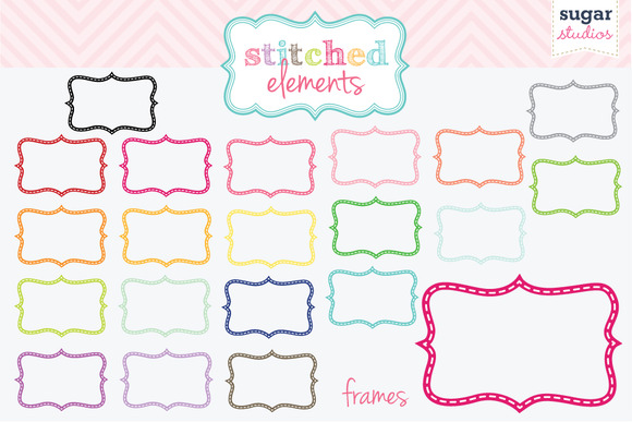 Stitched Frames Clipart Set 2