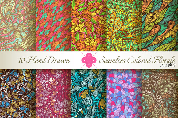 10 Colored Seamless Florals Set #2