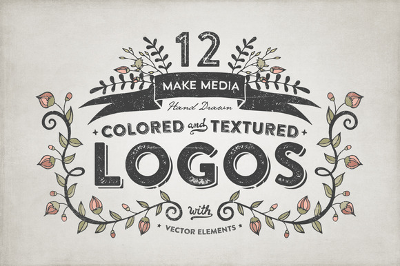 Hand Drawn Colored Textured Logos