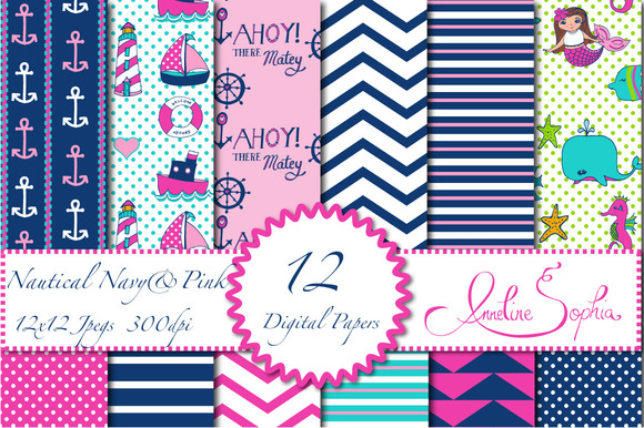 Nautical Navy And Pink Digital Paper