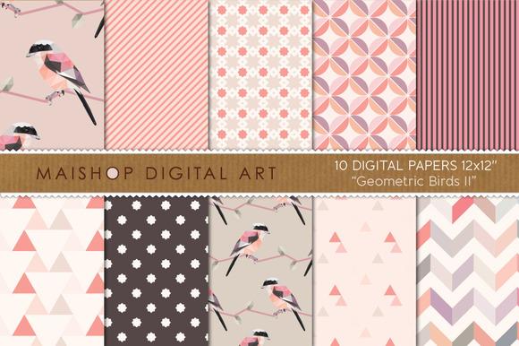 Digital Paper-Geometric Birds II