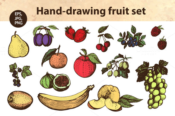 Hand Drawing Fruit Set