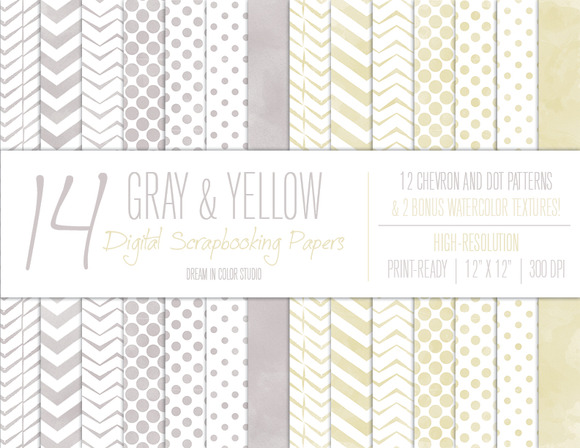 Gray Yellow Chevron Dot Patterns