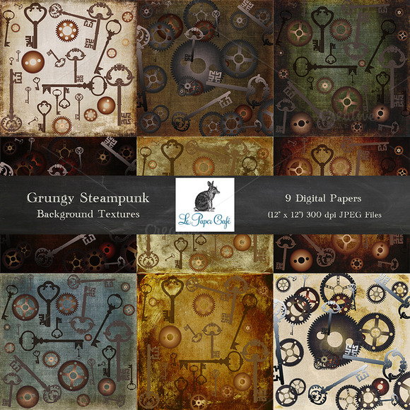 Grungy Steampunk Background Textures