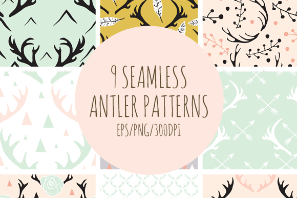 Seamless Antlers Pattern Collection