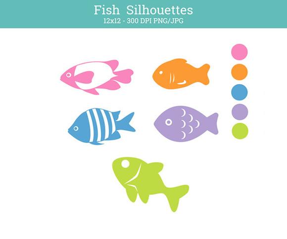 Fish Silhouettes Nursery Clip Art