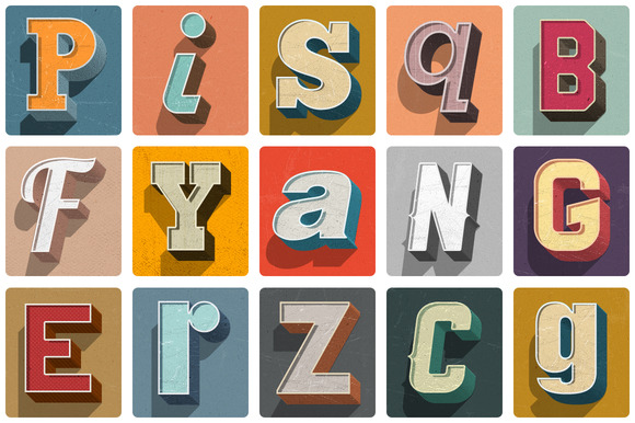 Retro 3D Text KIT For Photoshop