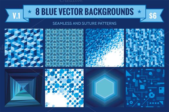 8 Blue Vector Backgrounds