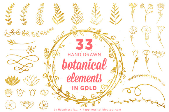 33 Gold Hand Drawn Botanical Element