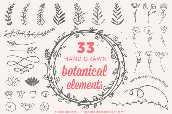 33 Hand Drawn Botanical Elements