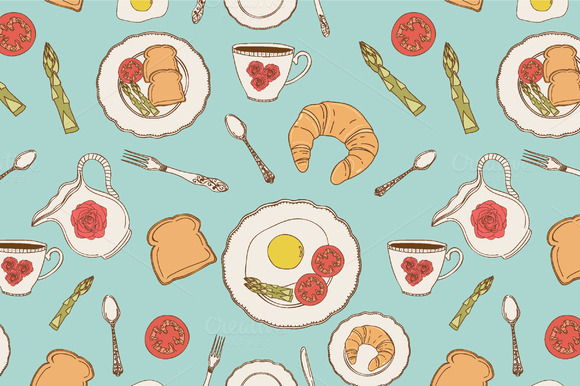 Vector Breakfast Patterns