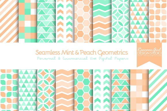 Seamless Mint Peach Geometrics