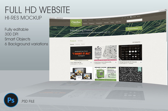 FullHD Website 3D Mockup
