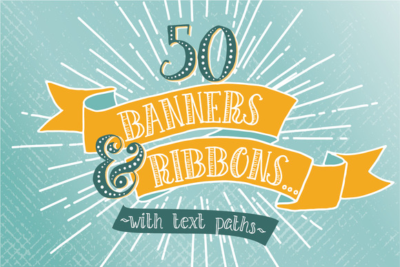Hand Drawn Banners Ribbons Bundle