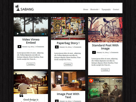 Sabang Grid Blog WordPress Theme