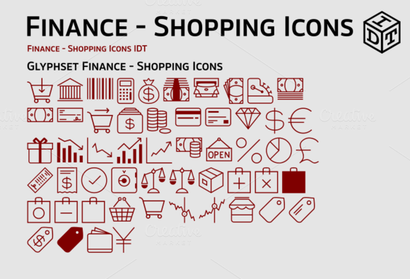 Finance Shopping Icons Web Font