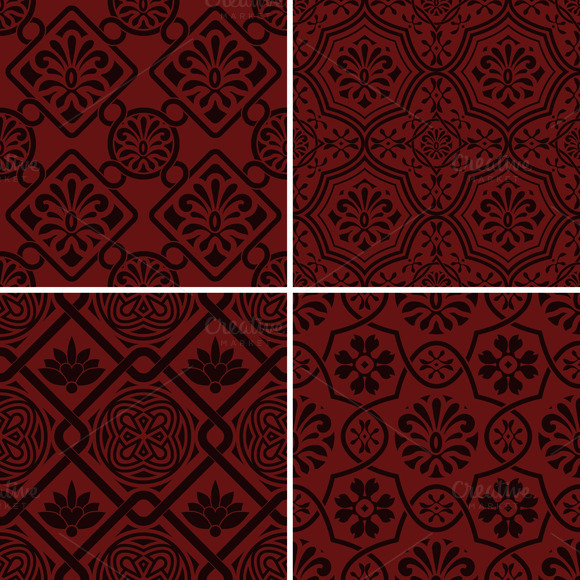 Vector Seamless Floral Patterns Ind