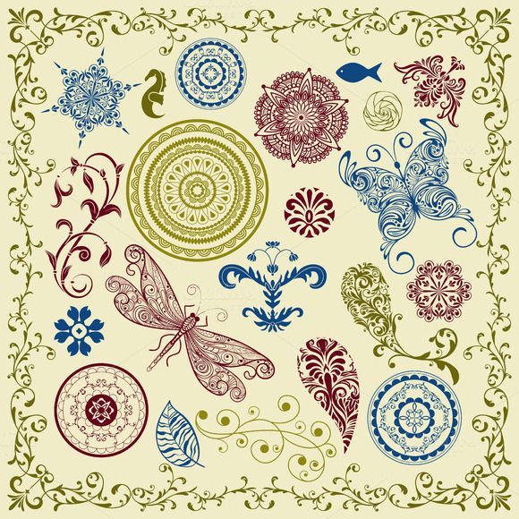 Vector Summer Vintage Floral Bright