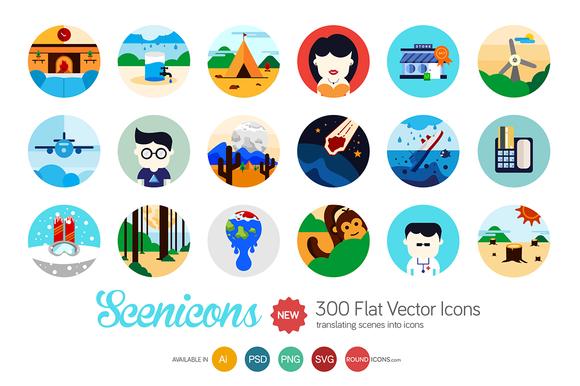 Scenicons Flat Icons 300 Icons