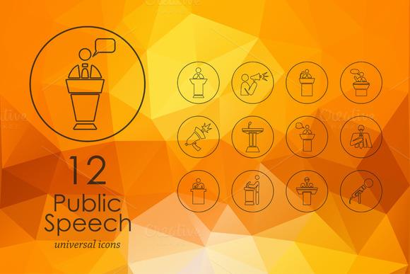 Public Speech Line Icons